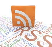RSS icon. 3d RSS icon on wordcloud background Royalty Free Stock Photos