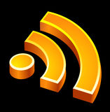 Rss icon. Three-dimensional rss feed icon Stock Photography