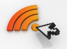 Rss icon and cursor Royalty Free Stock Image