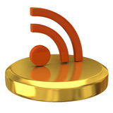 Rss icon on gold podium Stock Photography