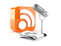RSS icon with radio mic and newspaper Royalty Free Stock Photos