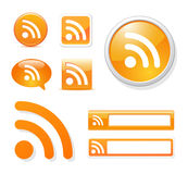 Rss icon set. Rss icons in different styles on white Royalty Free Stock Photo