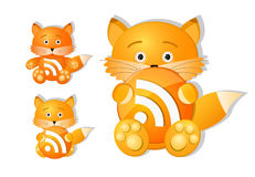 Rss icon set as cute red fox toy Stock Image