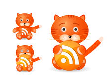 Rss icon set as cute tiger toy Royalty Free Stock Images