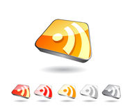 Rss icon set in perspective view Stock Image