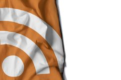Rss icon wrinkled flag, space for text Stock Photography