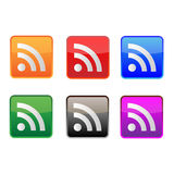 RSS Icons. Colorful lively RSS icons,come in color orange,red,blue,green,grey and purple stock illustration