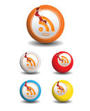 Rss Icons Ball With Crack royalty free illustration