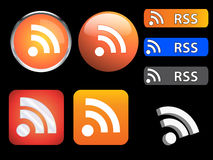 RSS icons and buttons stock illustration