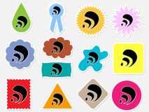 Rss icons different colors Royalty Free Stock Photos
