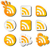 Rss icons set. Cool rss icons set for you Stock Photo