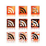 Rss icons set with animal skin pattern Royalty Free Stock Photo