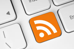 RSS-knapp på tangentbordet Fotografering för Bildbyråer