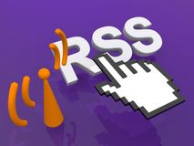 RSS link. An illustration of RSS (Rich Site Summary) link and hand shaped cursor Royalty Free Stock Photos