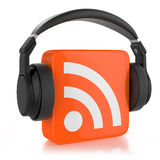 RSS  logo and headphone. Royalty Free Stock Photo