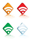Rss logo white. Collection of four different coloured rss 3d logo Stock Photography