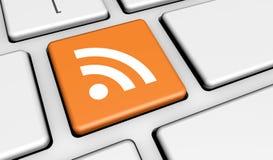 RSS-Netz-Internet-Nachrichten-Knopf Stockfoto