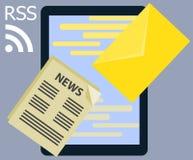 Rss planos y mensaje de las noticias de la información de diseño interes Imágenes de archivo libres de regalías