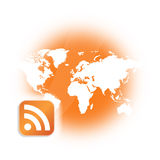 RSS Podcast Broadcast Logo. This image is for the concept of RSS (Really Simple Syndication) or podcast or non-streamed webcast which is a series of digital Stock Photos