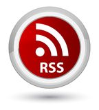 RSS prime red round button. RSS  on prime red round button abstract illustration Royalty Free Stock Photography