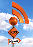Rss road orange sign Royalty Free Stock Image