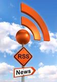 Rss road orange sign stock illustration