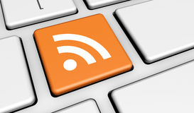 RSS sieci wiadomości Internetowy guzik Zdjęcie Stock