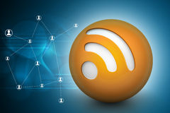 Rss sign in the ball Royalty Free Stock Image