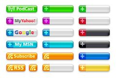 RSS Subscription Buttons Royalty Free Stock Images