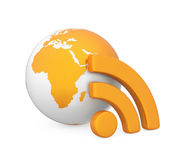 RSS Symbol with Globe Isolated Stock Photo