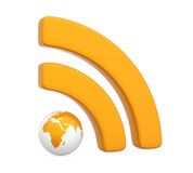 RSS Symbol with Globe Isolated Royalty Free Stock Photo