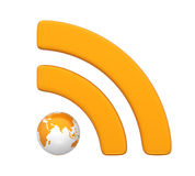 RSS Symbol with Globe Isolated Royalty Free Stock Images