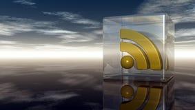 Rss symbol i den glass kuben under molnig blå himmel Fotografering för Bildbyråer