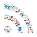 RSS symbol with media icons texture. Social media icons set in RSS symbol shape composition Stock Photography
