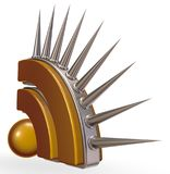 Rss symbol with prickles. On white background - 3d illustration Royalty Free Stock Photos