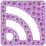 Rss symbol in violet Royalty Free Stock Photography