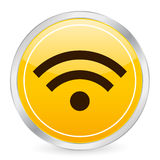 Rss symbol yellow circle icon Stock Photography