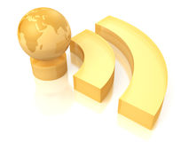 Rss yellow symbol with earth globe sphere. 3d Stock Image