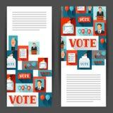 Rösta politiska valbaner Bakgrunder för aktionbroschyrer, webbplatser och flayers Royaltyfri Bild