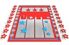 Rösta text 3D på bakgrunden från USA-flaggabeståndsdelar Royaltyfria Bilder