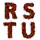 RSTU, english alphabet letters, made of coffee beans, in grunge Royalty Free Stock Images