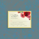 RSVP card suite with watercolor carnation frame. RSVP card suite with watercolor red carnation frame. Wedding, invitation card. Grunge background. Elegance Royalty Free Stock Photos