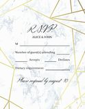 Rsvp design card template. White marble background and gold geometric pattern. Dimensions 4.25x5.5 inch. Seamless pattern included. Eps10 Stock Images