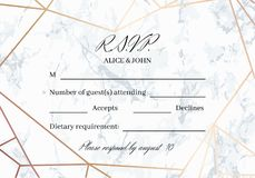 RSVP geometric design card template. White marble background and rose gold geometric pattern. Dimensions 5x3.5 inch. Seamless pattern included. Eps10 Royalty Free Stock Photo