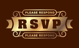 RSVP please respond gold design for your greeting card.  Stock Images