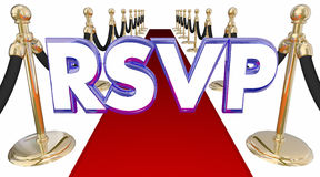 RSVP Reserve Reservation Word Acronym Red Carpet Event. 3d Illustration Royalty Free Stock Photography