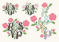 RSVP typography and flower element Stock Photography