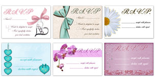 Rsvp vector cards. Set of 6 vector designs of rsvp cards Royalty Free Stock Image