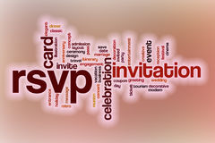 RSVP word cloud with abstract background. RSVP word cloud concept with abstract background Royalty Free Stock Image