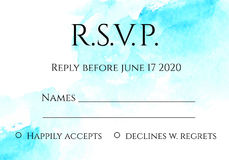 RSVP 5x7 inches card template with hand painted watercolor background. Stock Images